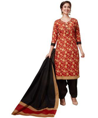Women's Red & Black Cotton Printed Readymade Patiyala Suit Set with matching mask