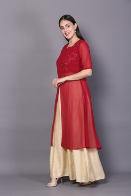 Red embroidered cotton cotton-kurtis