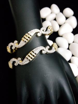 Gold Silver Diamond Bangle