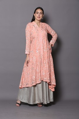 Pink embroidered georgette cotton-kurtis