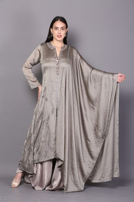Grey embroidered crepe cotton-kurtis