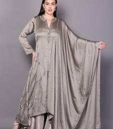 Grey embroidered crepe cotton-kurtis