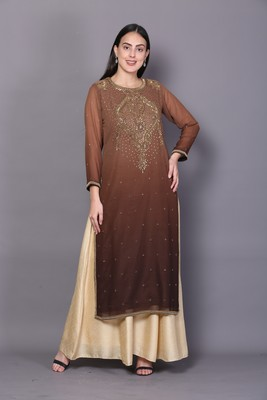 Brown embroidered georgette cotton-kurtis