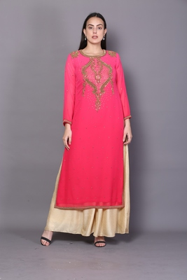 Pink embroidered georgette cotton-kurtis