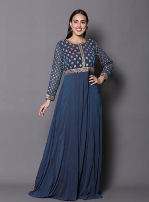 Blue embroidered georgette cotton-kurtis