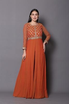 Orange embroidered georgette cotton-kurtis