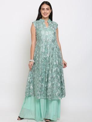 Blue embroidered net cotton-kurtis