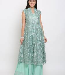 Blue embroidered net cotton-kurtis