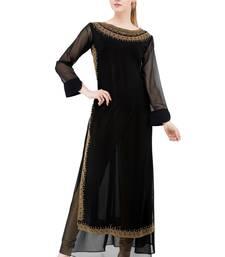 Black embroidered georgette cotton-kurtis