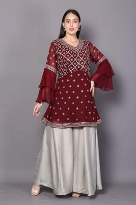 Maroon embroidered georgette cotton-kurtis