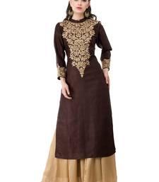 Brown embroidered georgette cotton-kurtis