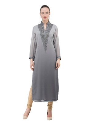 Grey embroidered georgette cotton-kurtis