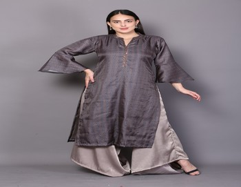 Brown embroidered rayon cotton-kurtis