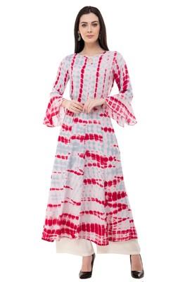 White embroidered rayon cotton-kurtis