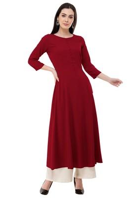 Red embroidered rayon cotton-kurtis