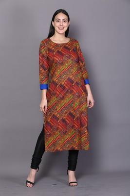 Multicolor embroidered rayon cotton-kurtis