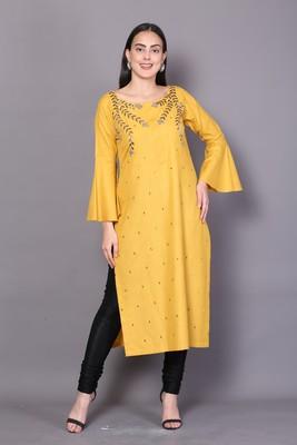 Yellow embroidered rayon cotton-kurtis