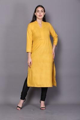 Yellow embroidered cotton cotton-kurtis