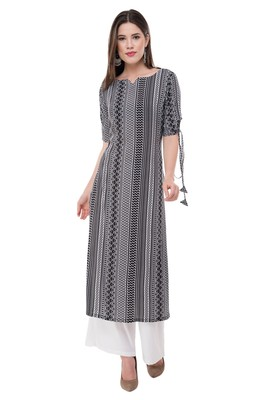 Black embroidered rayon cotton-kurtis