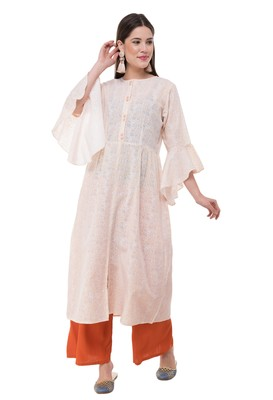 Cream embroidered cotton cotton-kurtis