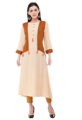 Beige embroidered crepe cotton-kurtis