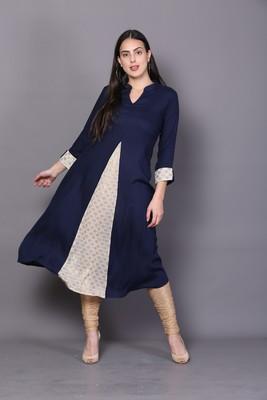 Blue embroidered rayon cotton-kurtis