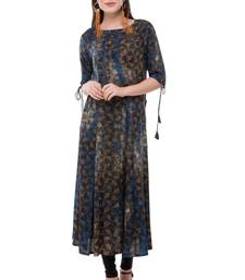 Blue embroidered rayon cotton-kurtis