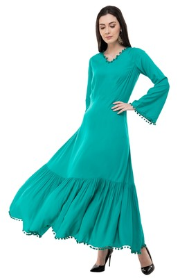 Green embroidered rayon cotton-kurtis