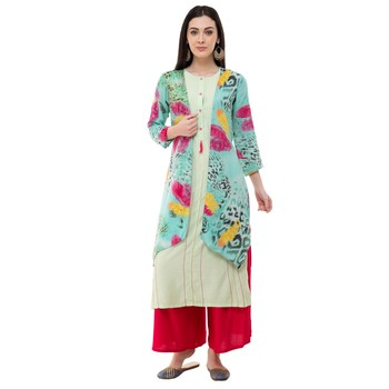 Multicolor embroidered crepe cotton-kurtis