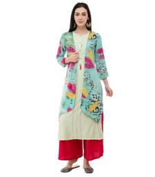 Multicolor embroidered crepe cotton-kurtis