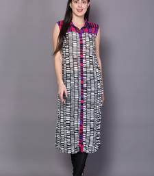 Multicolor embroidered georgette cotton-kurtis