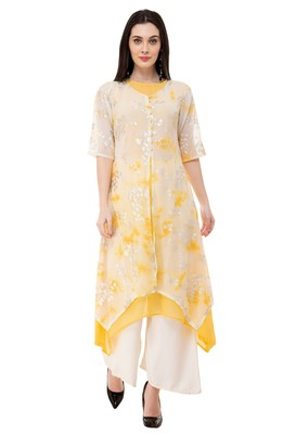 Yellow embroidered georgette cotton-kurtis