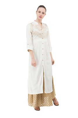 White embroidered cotton cotton-kurtis