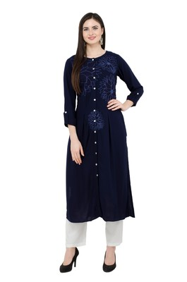 Navyblue embroidered georgette cotton-kurtis