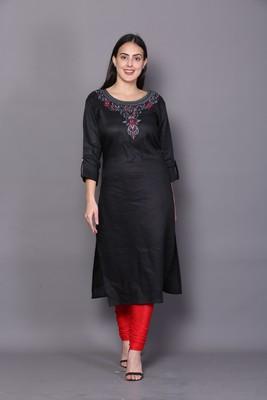 Black embroidered cotton cotton-kurtis