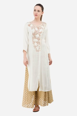 White embroidered georgette cotton-kurtis