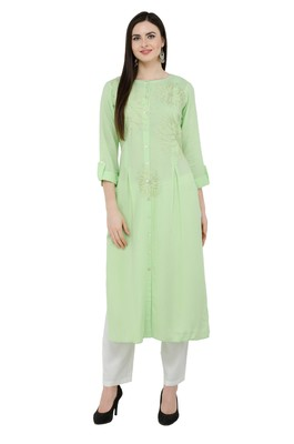 Green embroidered georgette cotton-kurtis