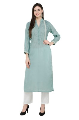 Green embroidered cotton cotton-kurtis