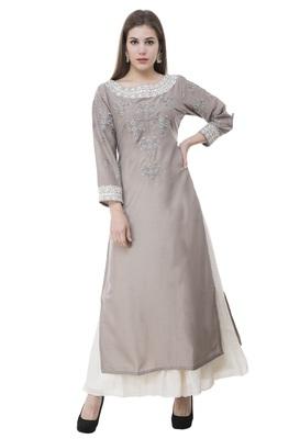 Grey embroidered rayon cotton-kurtis