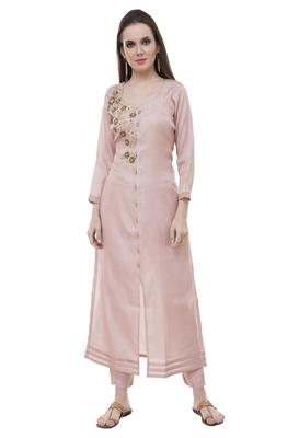 Pink embroidered rayon cotton-kurtis