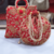 Red Colored Sequin Worked Pearl Chained Potli Bag With Handbag