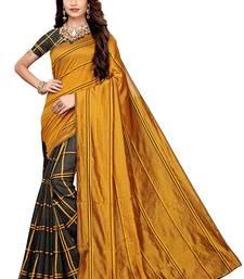 Dark yellow woven cotton silk saree with blouse