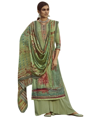 Green embroidered pure pashmina salwar