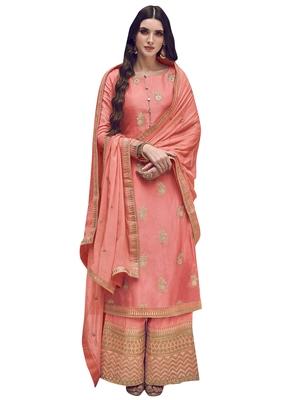 Peach embroidered art silk salwar