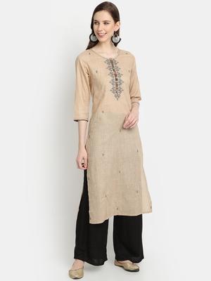 Women's Beige Cotton Printed Straight Kurta