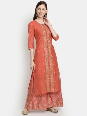 Women's Rust Chanderi & Cotton Embroidered Straight Kurta
