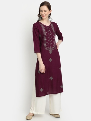Women's Wine Rayon Slub Embroidered Straight Kurta