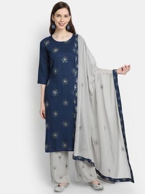 Women's  Navy Blue Rayon Slub & Cotton Embroidered Straight Kurta Palazzo Dupatta