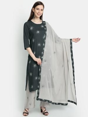 Women's  Grey Rayon Slub & Cotton Embroidered Straight Kurta Palazzo Dupatta