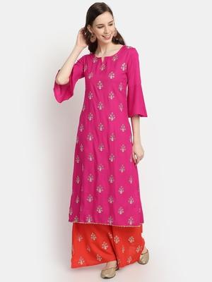 Women's  Rani Pink Rayon Slub Embroidered Straight Kurta Palazzo Set